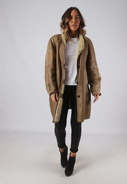 Sheepskin Leather Shearling Coat Short Mid UK 16 (W4T)