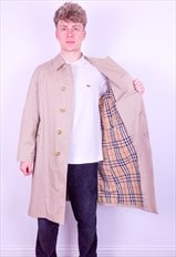 Vintage Burberry Nova Check Trench Coat Jacket in Beige