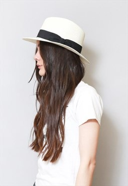 Vintage 1970's Style Cream And Black Straw Fedora.
