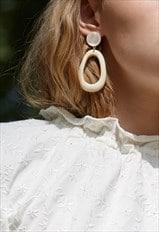 HEIGHT Drop Earrings In Cream Acrylic