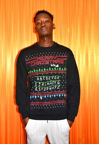 Christmas Sweatshirt Black Red Green Arcade Stranger Things