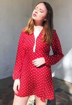 Vintage-inspired Polka Dot Chiffon Dress
