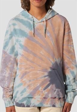 54 Floral Tie Dye Bleach Pullover Hoody - Multi/Cream