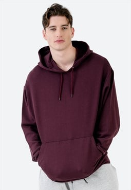 Oversized Basic Hoodie in Oxblood in Heavyweight Jersey