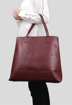 'FREYA' Burgundy Semi Structured Unlined Croc Leather Tote