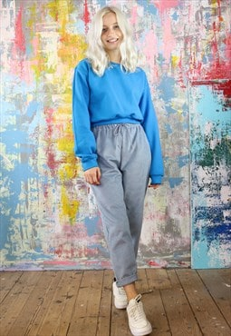 Cord Trousers & Sapphire Blue Crop Sweat Co-ordinates