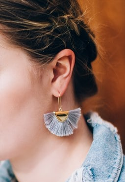 Summer festival silk tassel half moon earrings