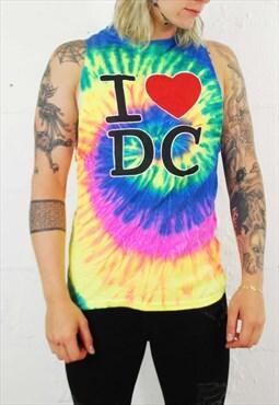 Vintage 90s DC Tie Dye Rainbow Vest