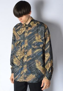 Vintage 90s Beige Blue Abstract Grunge Long Sleeve Shirt
