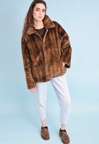 70'S RETRO FAUX FUR WARM CROPPED JACKET