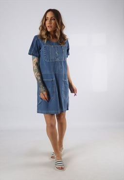 Vintage Denim Dress BICH REWORKED Dungarees UK 8 - 10 (9DDC)