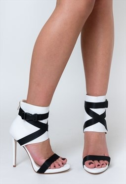 Olivia Cuffed Stiletto Heels in White Lycra