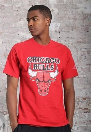 VINTAGE CHAMPION CHICAGO BULLS BIG LOGO T-SHIRT RED