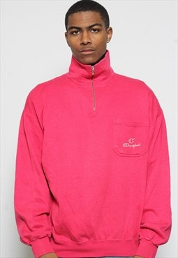 Vintage Champion 1/4 Zip Sweatshirt Pink