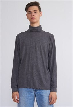 Vintage Grey Turtle Neck Long Sleeve Top