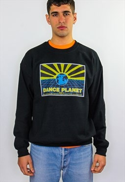 Dance Planet Jan graphic print 90s rave flyer sweater black