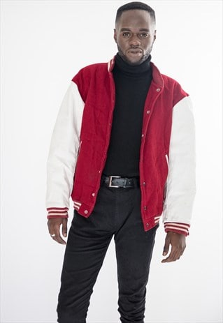 90S VINTAGE RED AND WHITE AMERICAN VARSITY LEATHER JACKET