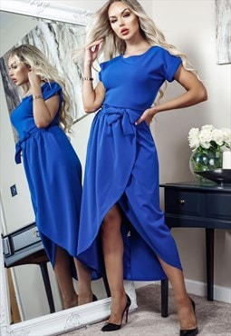 Madison Royal Blue Short Sleeve Wrap Day Dress