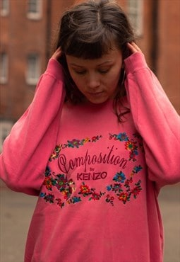 Vintage Composition by Kenzo sweatshirt in pink