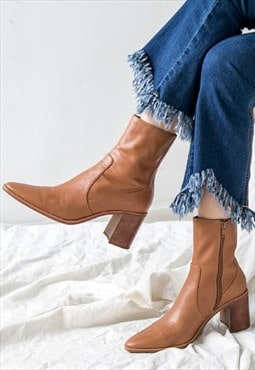 Genuine Leather Ankle Heeled Boots in Light Brown