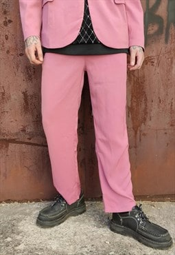 straight fit smart trousers in pink luminous overalls