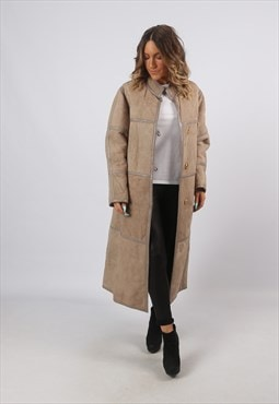 Sheepskin Suede Shearling Long Coat Jacket UK 12 (A8BE)