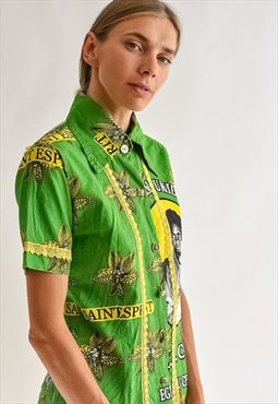 Vintage 70s fitted green pattern shirt with lace details