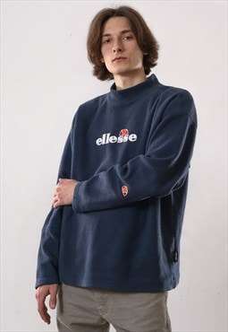 90's Vintage Mens ELLESE Big Logo Fleece Turtleneck Sweater