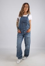 Vintage Denim Dungarees Wide Straight Leg UK 10 Small (H2U)
