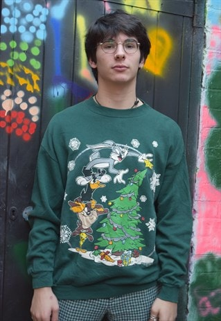 Green Looney Toons Vintage Christmas Jumper Sweater