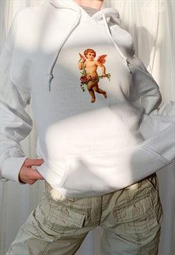 y2k 00s 2000s white cherub graphic hoodie sweatshirt