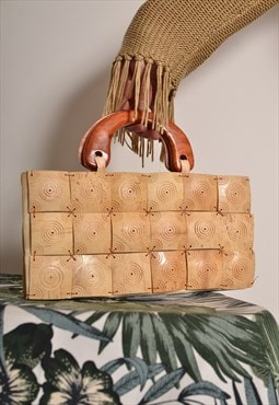 Vintage 60s Wooden Clutch Bag in Cream
