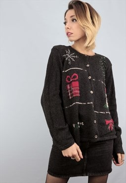 Vintage 80s 90s Novelty Christmas Cardigan Embroidered Black