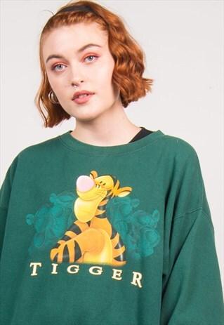 DISNEY VINTAGE 90'S GREEN TIGGER PRINT SWEATSHIRT