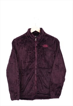 Vintage The North Face Fleece Burgundy Zip Up With Logo 90s