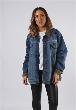 Vintage Denim Jacket LANDS END Oversized Fitted UK 18 (95AK)
