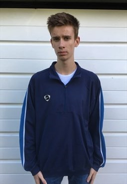 Mens 80s Team Nike jumper blue quarter zip pullover jacket