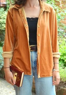 90s Vintage Gold Velvet Long Sleeve Shirt