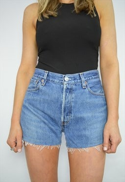90s Levi's 501 Medium Blue Wash High Waist Jean Shorts Retro