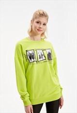 Women Neon Green Printed Oversize Sweatshirt