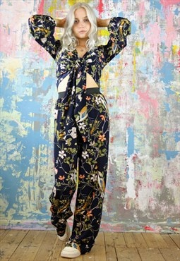 Trousers & Wrap Top Co-Ordinates in bird & flower print