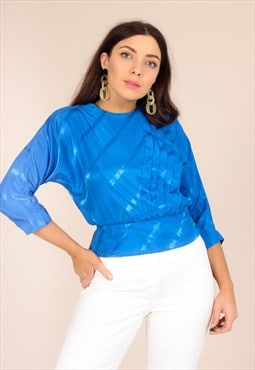 Vintage 80s Electric Blue Peplum Blouse