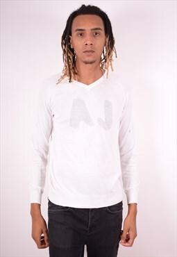 Armani Jeans Mens Vintage Jumper Sweater Medium White 90s