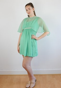 Womens Vintage 60s dress mint green floaty babydoll dress