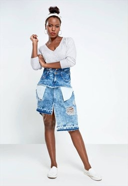 Asymmetrical denim distressed skirt