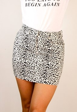 Leopard Print Denim Mini Skirt - Black & White