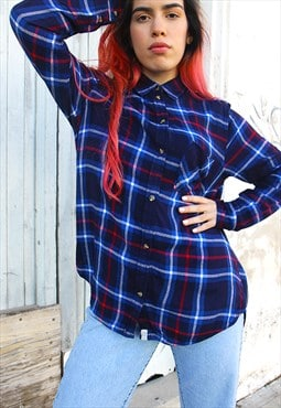 Soft Flannel Blue & Red Check Long Sleeved Shirt