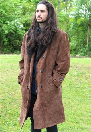 VINTAGE 90S SHEEPSKIN JACKET COAT - XXL - BRITISH