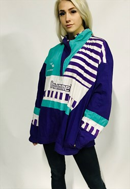 vintage HUMMEL oversized jacket track retro sports 1/4 zip