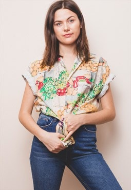 Vintage Vegetable Print Shirt
